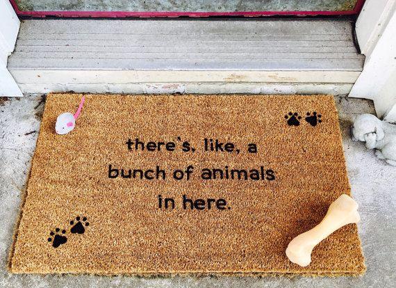 Custom Door Mat, There's like a bunch of animals in here, Door Mats with Sayings, Painted Door Mat, Funny Door Mat, pawprints, animal lover