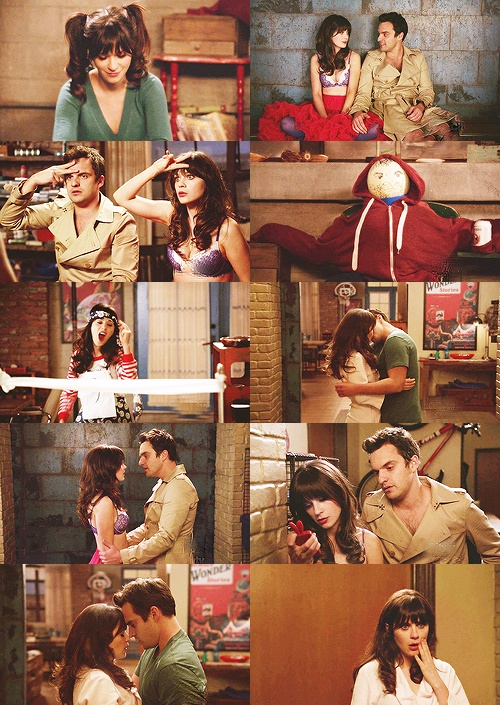 "New Girl. Nick and Jess ""collage"" from the kiss episode. I love melon head nick."