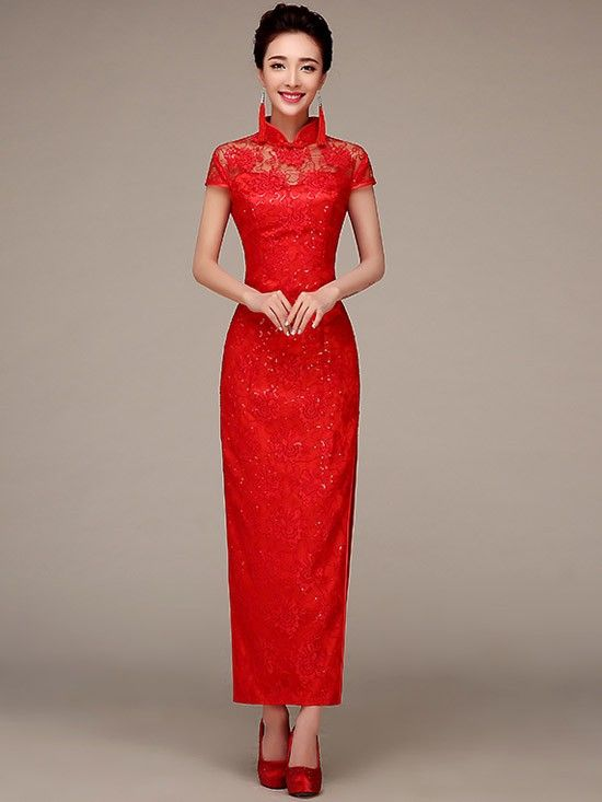 Ankle Length Lace Cheongsam Qipao Evening Dress With