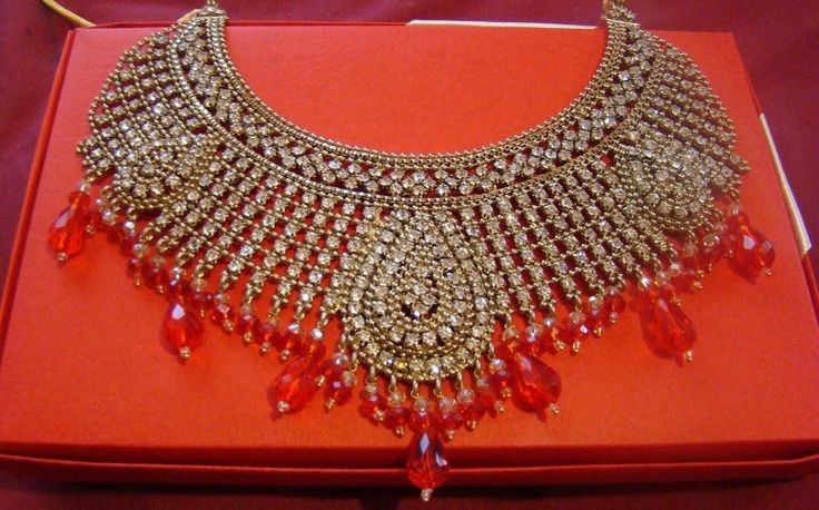 Indian CZ AD Kundan Polki Gold Red Bridal Sultan Statement Necklace Earring Set