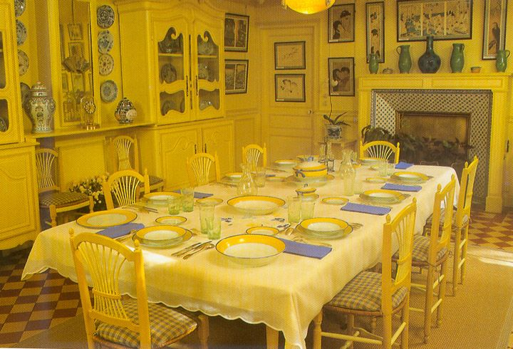 Claude Monet's dining room. I don't remember it being quite that yellow. It's a perfect compliment to the blue kitchen.
