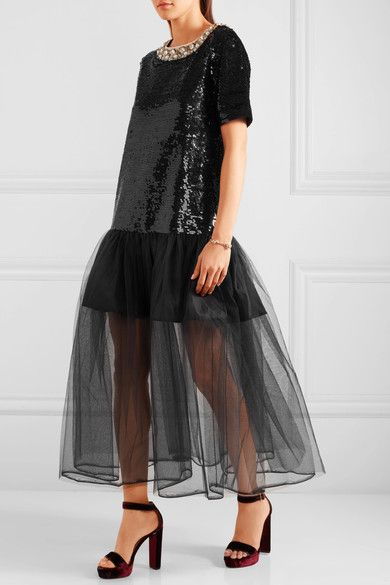Black sequined cotton and tulle Zip fastening along back Fabric1: 100% cotton; fabric2: 100% nylon; lining: 100% polyester Dry clean Imported