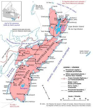 Canada Maps: Map of Nova Scotia, Canada