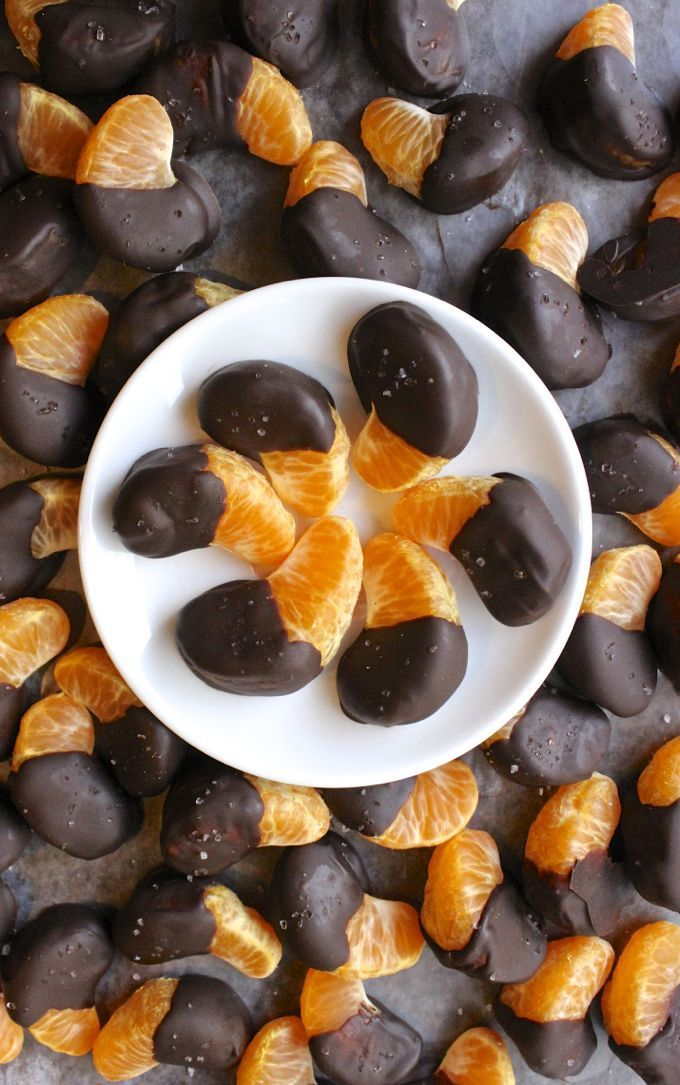 Chocolate Dipped Tangerines, finished with a little sea salt, is a quick, easy and elegant dessert or snack. They require less than 5 ingredients and less than 30 minutes of hands-on time. Sweetness from the chocolate and a little bite from finishing salt compliment the sweet and tart flavors of the tangerines.