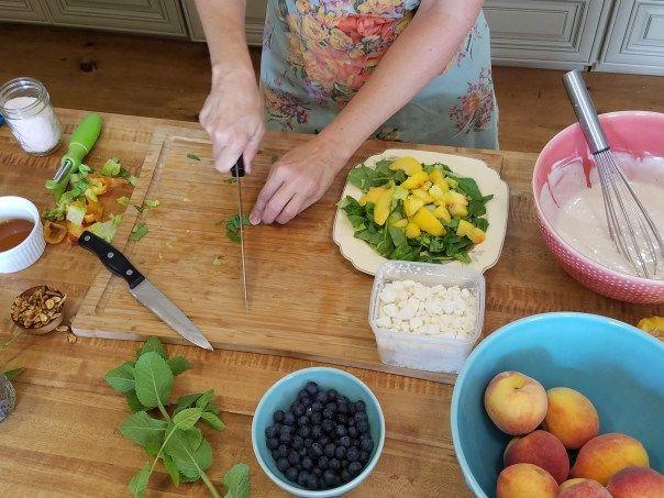 poppyseed dressing recipe, peach blueberry salad, chopping mint