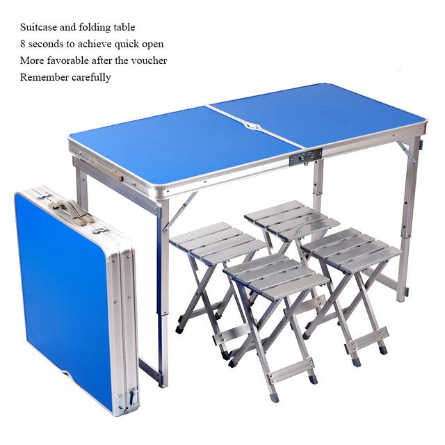 X18 Camping Table Portable Folding Table With4 Chairs Height Adjustable Heavy Duty Garden Table Trestle Set Camping Table Folding Camping Table Outdoor Tables