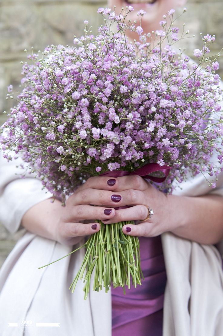 Purple Gypsophila bouquet. Image by FO Photography.  I'm surprised I like this all one flower bouquet but it's beautiful!