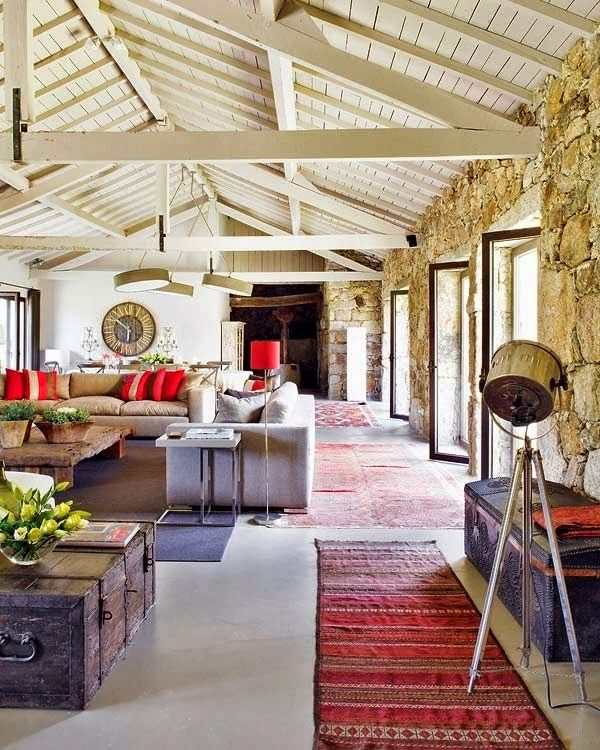 Casa de campo rustica em portugal living room decor - Casa rusticas de campo ...