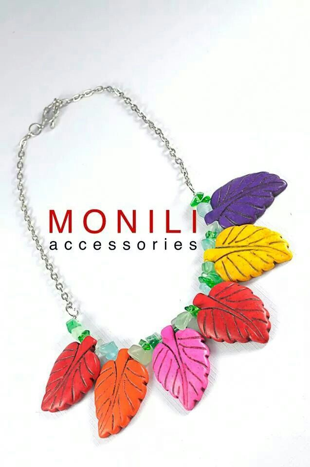 Statement Necklace : Blocking Colour Leaves by MONILI