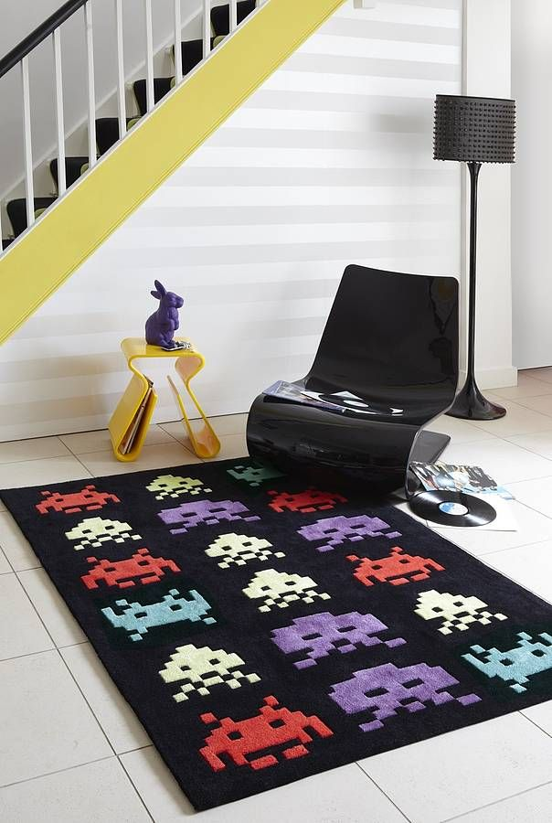 Space Invaders Rug Children Play Man Cave And Big Kids