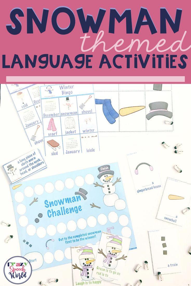 Snowmen Language Activities Winter Speech Therapy Language Activities Speech Therapy Activities [ 1100 x 735 Pixel ]
