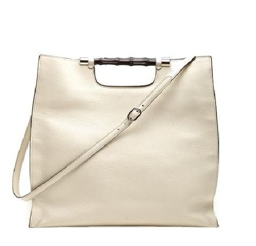 Authentic Gucci Bamboo Daily Leather Tote Handbag 370828 9022 (Off-White) #Gucci #TotesShoppers