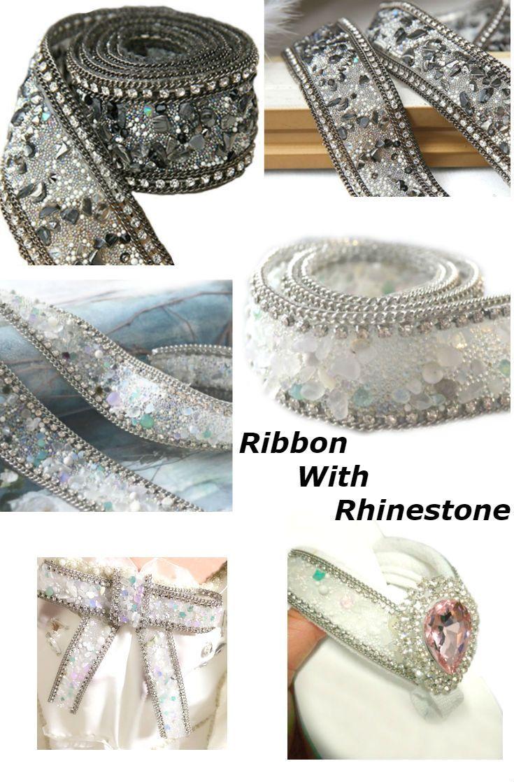 #RibbonRhinestone #RibbonEmbellishments #RibbonSparkle Crystal #TrimChain Belt #WeddingRibbon Accessory Bridal #DressesApplique #RibbonShoes #ChainRhinestone , 3,5cm