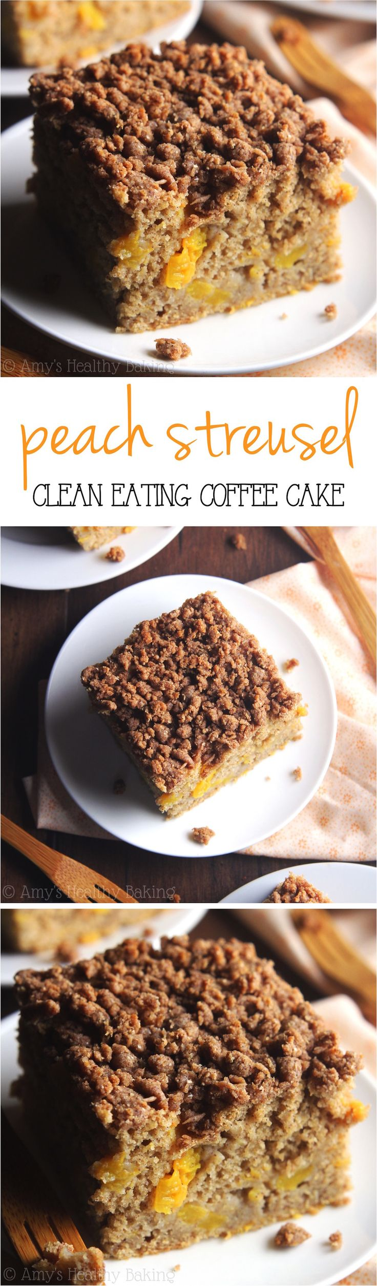 Clean-Eating Peach Streusel Coffee Cake -- like eating dessert for breakfast! Made with NO refined flour or sugar, but it doesn't taste healthy!