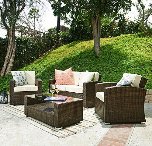 Firepit Makeover  The-Hom Bahia 4 Piece Outdoor Wicker Coversation Sofa Set in Brown *** This is an Amazon Associate's Pin. Click the image to visit the website.