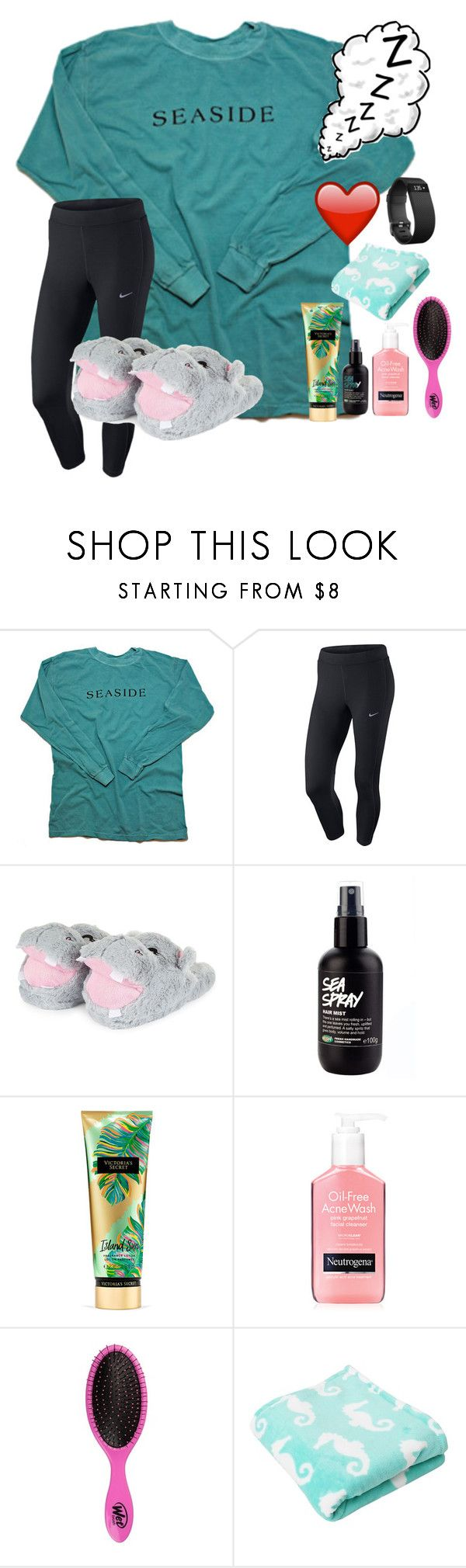 """~😴nighty night😴~"" by taybug2147 ❤ liked on Polyvore featuring NIKE, Victoria's Secret and Fitbit"