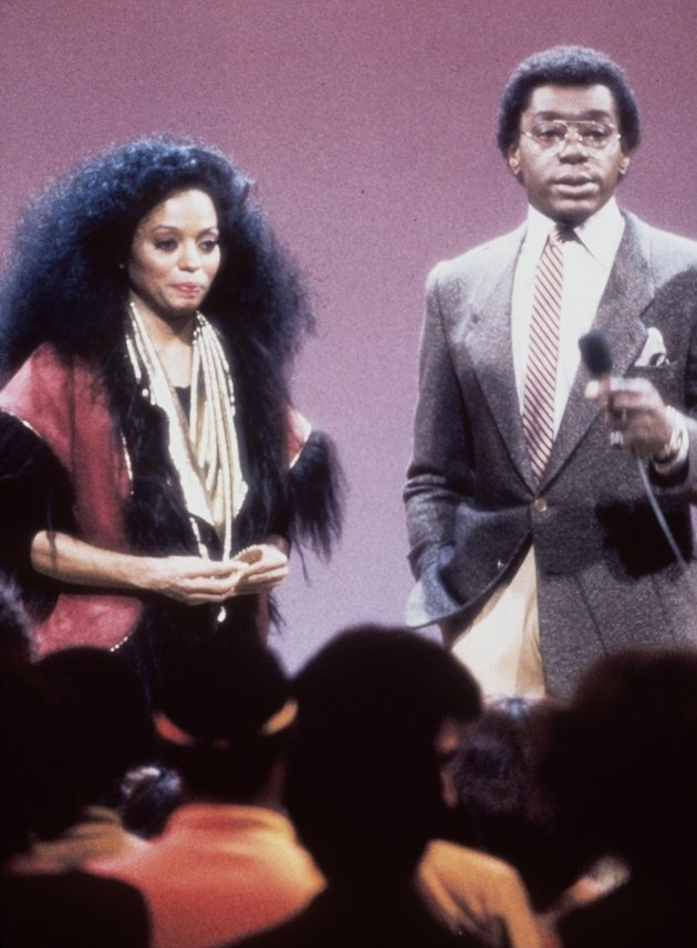 """Singer Diana Ross with show host and producer Don Cornelius. Ross was one of many entertainers who performed on """"Soul Train"""" in the 1970''s, part of the Soul Train 30th Anniversary """"Divas and Kings 2000 & Beyond."""""""