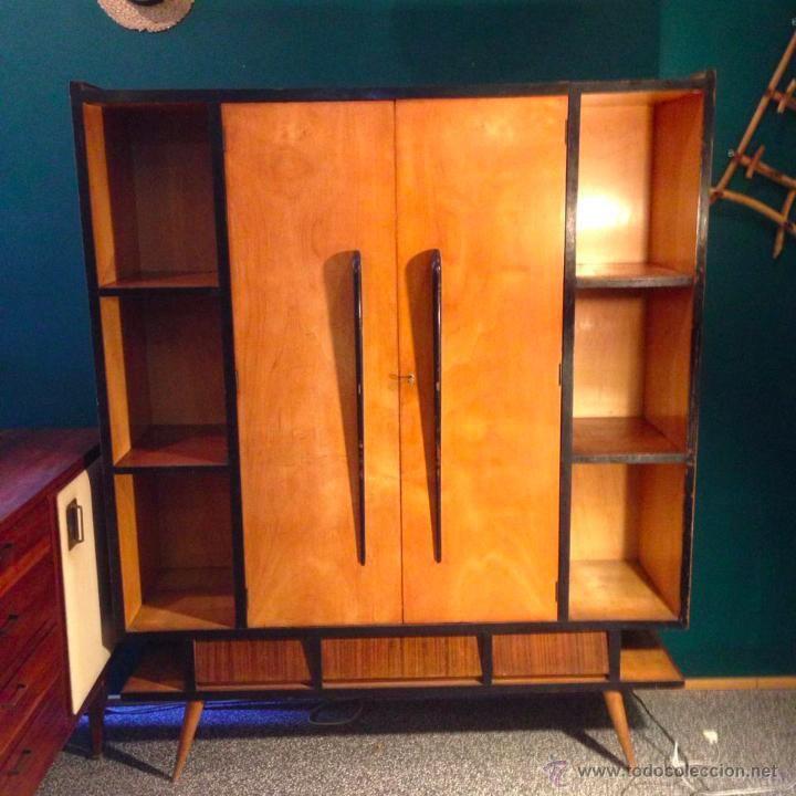 Mueble armario aparador vintage a os 50 rockabilly madera for Aparador anos 50
