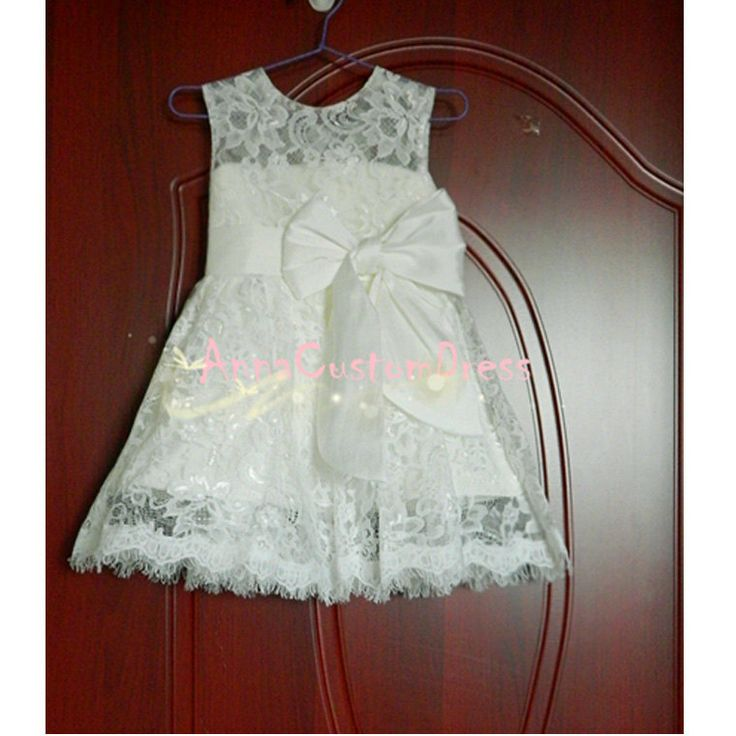 Ivory lace flower girl dress white country wedding baby for Country wedding flower girl dresses