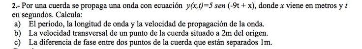 Ejercicio de Movimiento Ondulatorio propuesto en el examen PAU de Canarias de 2002-2003, Junio, Opción B.