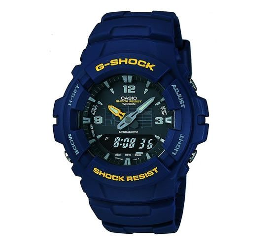 Buy Casio G-Shock Men's G-100-2BVMUR Chronograph Watch from our Men's Watch range at The Watch Dealer. Quality guaranteed with our 2 year The Watch Dealer Warranty on all watches.