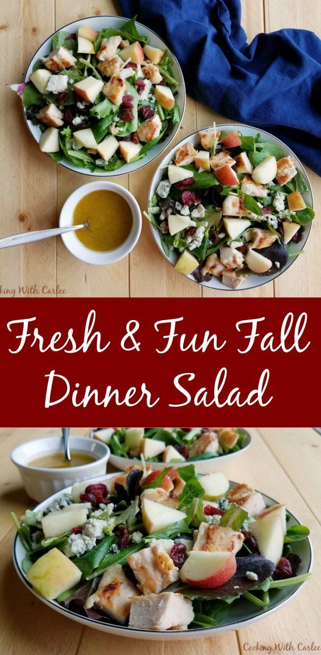 Crunch fresh apples, a homemade dressing, yummy chicken and more come together in this fall inspired dinner salad. It also makes a great lunch to bridge the gap between summer and fall! #appleweek