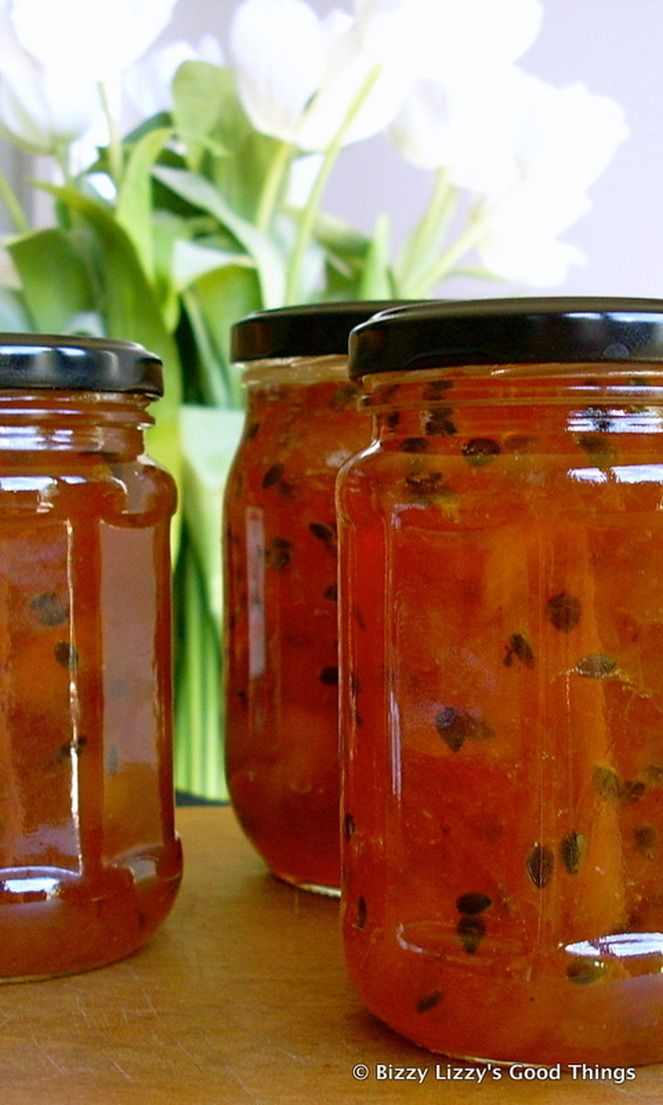 PASSIONFRUIT PEACH JAM* 300 g peaches, peeled and cut into pieces 200 g sugar  juice of 1/2 lemon  pulp from 4 passionfruits without the seeds, if possible