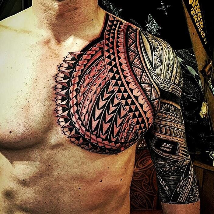 Samoan tattoo chest sleeve tattoos pinterest samoan for Best polynesian tattoo artist