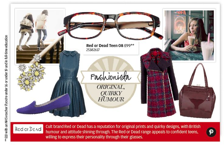 Funky Red or Dead specs are made especially for girls who want to express their fashion personality through their glasses. Available at Specsavers.