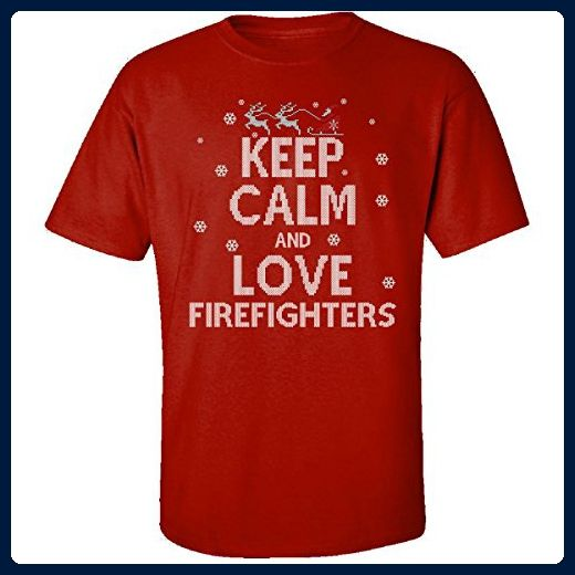 Keep Calm And Love Firefighters Jobs Ugly Christmas Sweater - Adult Shirt - Holiday and seasonal shirts (*Amazon Partner-Link)