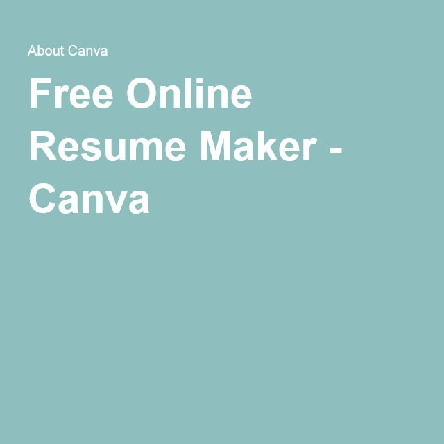 Free Online Resume Maker - Canva