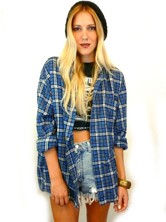 90s blue plaid flannel oversize grunge womens boyfriend