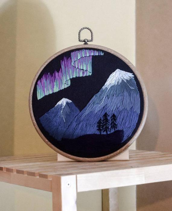 Northern Lights Aurora Borealis Mountain Embroidery Hoop Hand Embroidered Decorative Hoop Northern Lights Aurora Borealis Embroidery Embroidery Hoop