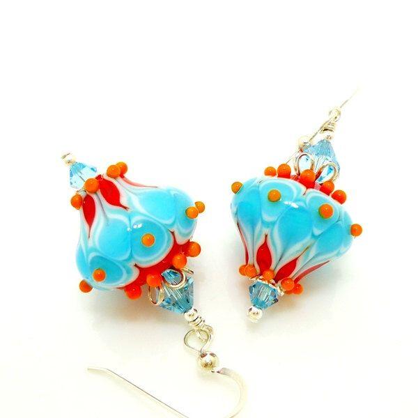 Corlorful Southwestern Earrings, Lampwork Earrings, Glass Bead Earrings, Unique Earrings, Glass Art Earrings, Dangle Earrings by BeadzandMore on Etsy https://www.etsy.com/listing/512291725/corlorful-southwestern-earrings-lampwork