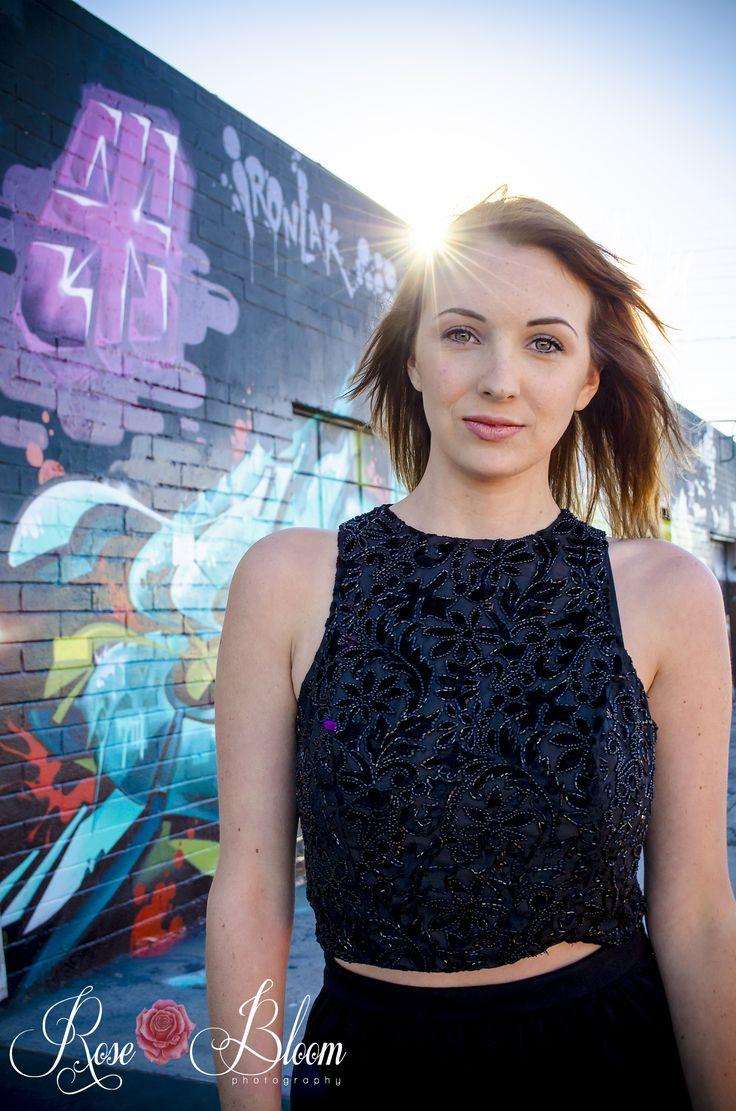 Graffiti Art Wall Senior Portrait Photography in Las Vegas, NV Model Photography | Female Senior Portrait Ideas | Poses | Tips & Tricks | Rose Bloom Photography | Northern Utah Photographer
