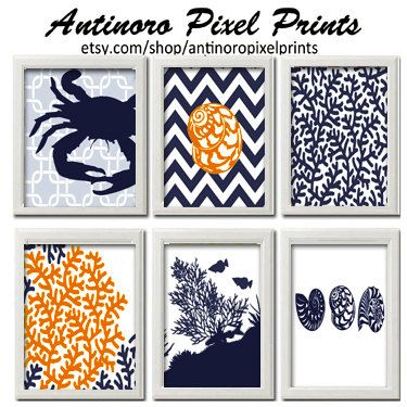 ETSY  - Beach House Digital Prints Navy Blue Orange Set of 6 - 8x11 Prints -  (UNFRAMED) $55 for set of 6