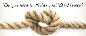 Image of a knot with the words do you need to relax and de-stress