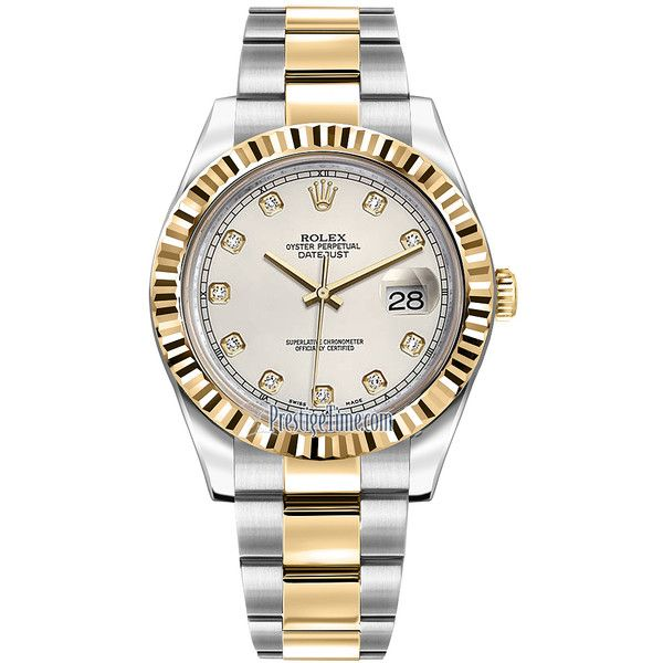Rolex Oyster Perpetual Datejust II 116333 Ivory Diamond Watch (€10.955) ❤ liked on Polyvore featuring men's fashion, men's jewelry, men's watches, stainless steel, rolex mens watches, mens diamond bezel watches and mens diamond watches