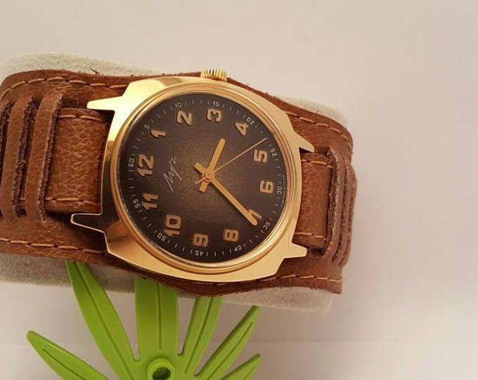 """Ювелирные часы кожа часы подарок часы """" Луч """" 80-х годов СССР смотреть старинные часы, советские часы мужские часы российские часы ретро часы ювелирные изделия для мужчин"""