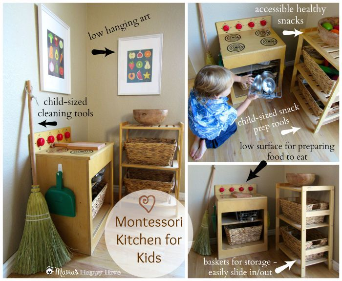 We are sharing easy DIY tips for Montessori spaces at home. The spaces include a classroom (in the unfinished basement), practical life kitchen, & closet.