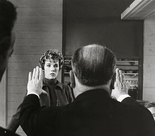 Alfred hitchcock directs julia andrews on the set of torn curtain