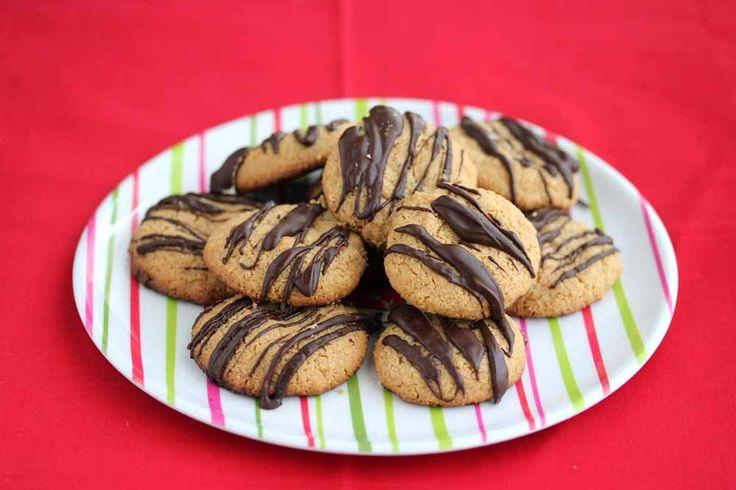 Gluten-Free Vegan Peanut  Butter Cookies with Dark Chocolate Drizzle
