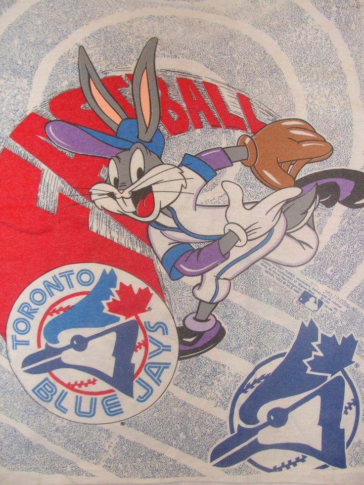 Vintage 90s Looney Tunes Bugs Bunny Toronto Blue Jays Hockey White T Shirt