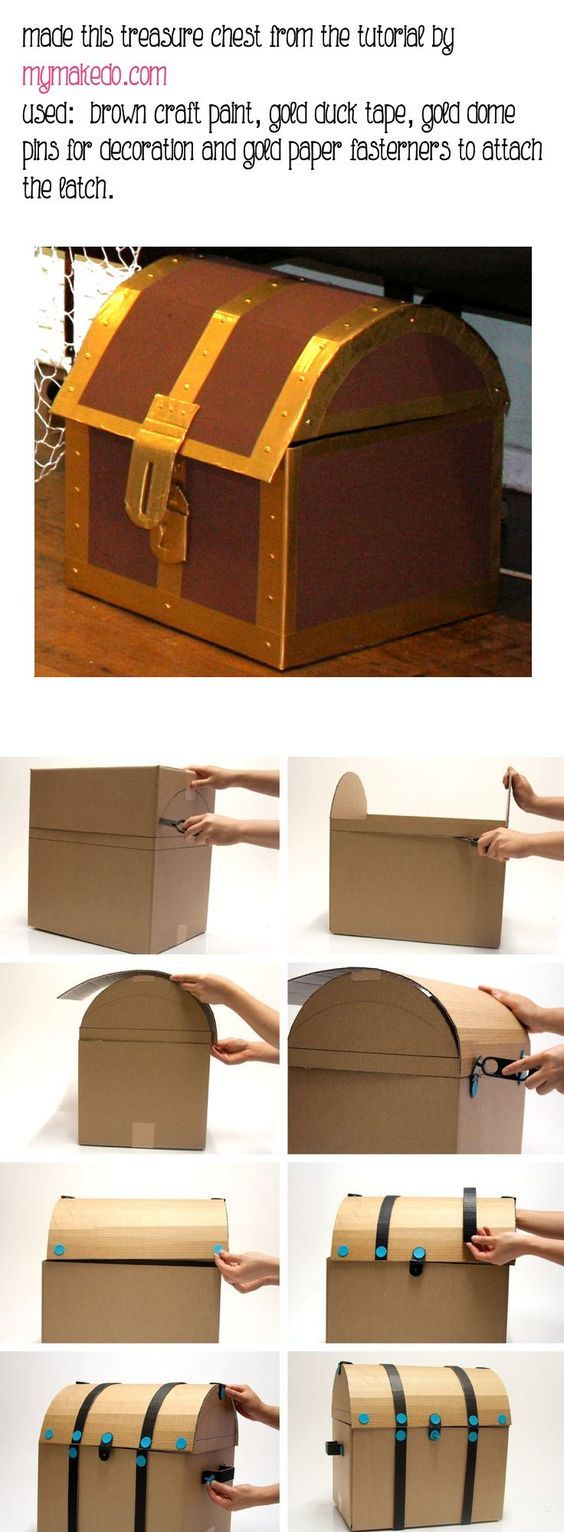 "DIY Cardboard pirate treasure chest - perfect to use for ""treasure"" or organization in the pirate classroom!"