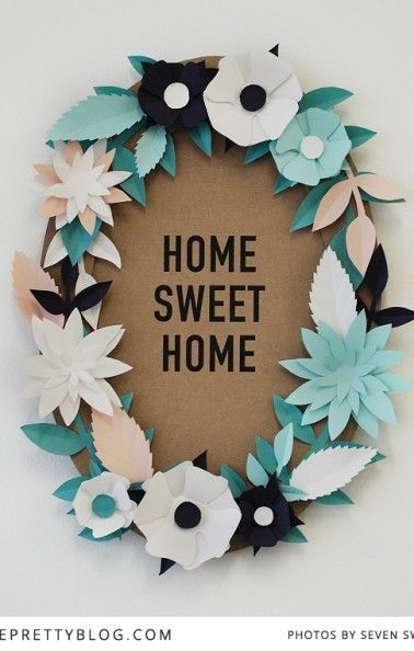 Paper Flower Wreath by Seven Swans for The pretty Blog
