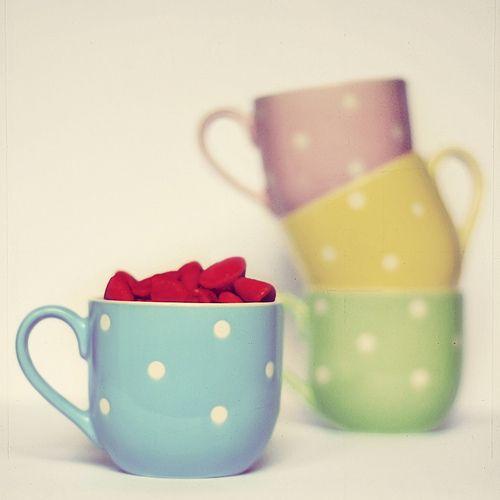 vintagey polka dots!: Candy Colors, Polka Dots, Teas Cups, Cute Mugs, Candy Colour, Coffee Cups, Pretty Pastel, Teas Mugs, Teacups