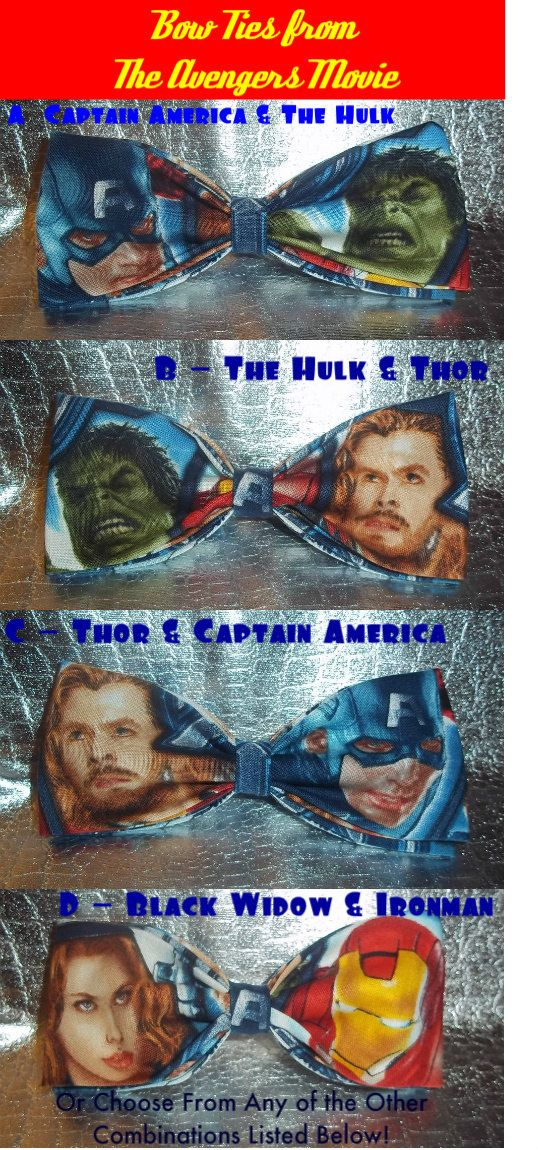 BowTies Made From Marvel Comics Avengers Fabric - Choose From 16 Cool Bow Ties, Choose Your Favorite Avengers via Etsy