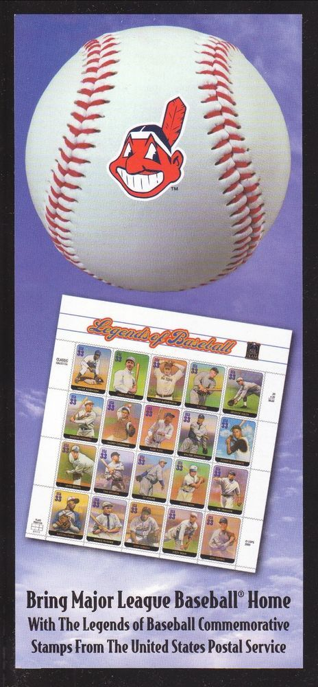 2000 Cleveland Indians Schedule--USPS Legends of Baseball #Schedule