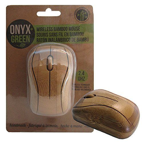 Onyx + Green Wireless Computer Mouse, Handmade with Bamboo, 2.4GHz