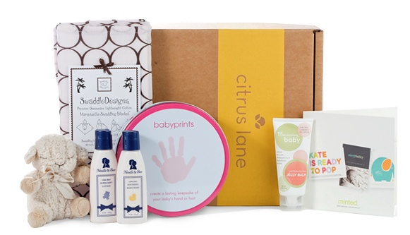 """Deluxe Shower Box - """"Includes must-have items like a swaddling blanket, gentle skin care products, and a soft rattle for baby. It's sure to thrill any mom-to-be!"""""""